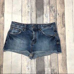 Free People Distressed Button Fly Shorts Size 26